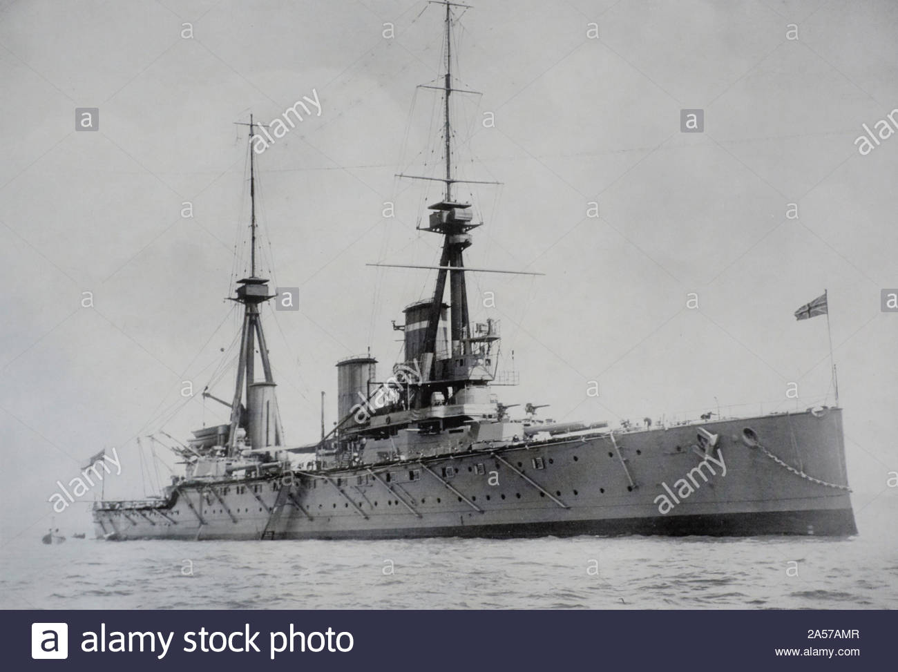 HMS Inflexible was a WW1 Invincible-class battlecruiser of the British Royal Navy,  the ship was launched in 1907 and scrapped in 1922 vintage photograph early 1900s Stock Photo