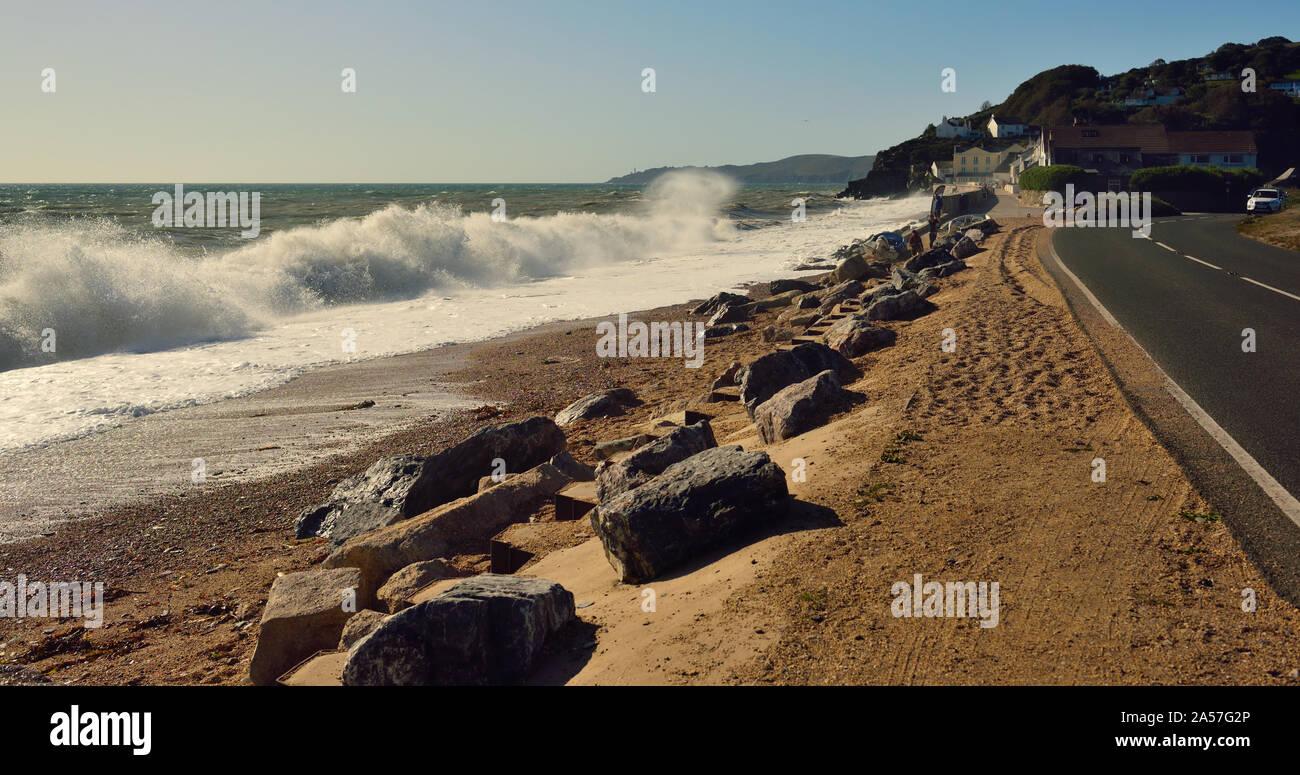 Waves breaking over the beach at Torcross, Devon (Slapton Sands). Stock Photo