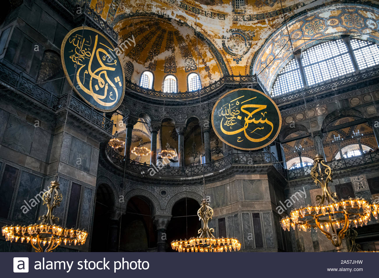 View of the ceiling and upper level of the interior of the Hagia Sophia museum, a former Muslim Mosque, in Istanbul, Turkey. Stock Photo