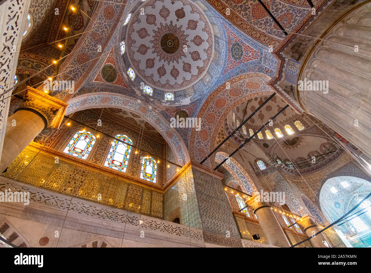 The interior, celing, mosaics and dome of the Blue Mosque in the Sultanahmet district of Istanbul, Turkey Stock Photo