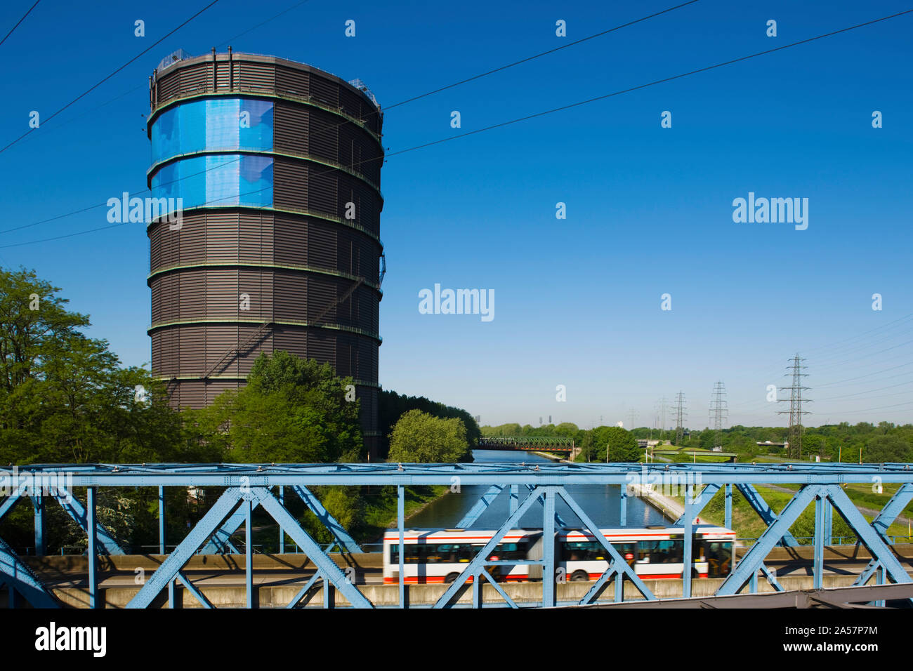 Gasometer at a shopping center, Oberhausen, Ruhr, North Rhine Westphalia, Germany Stock Photo