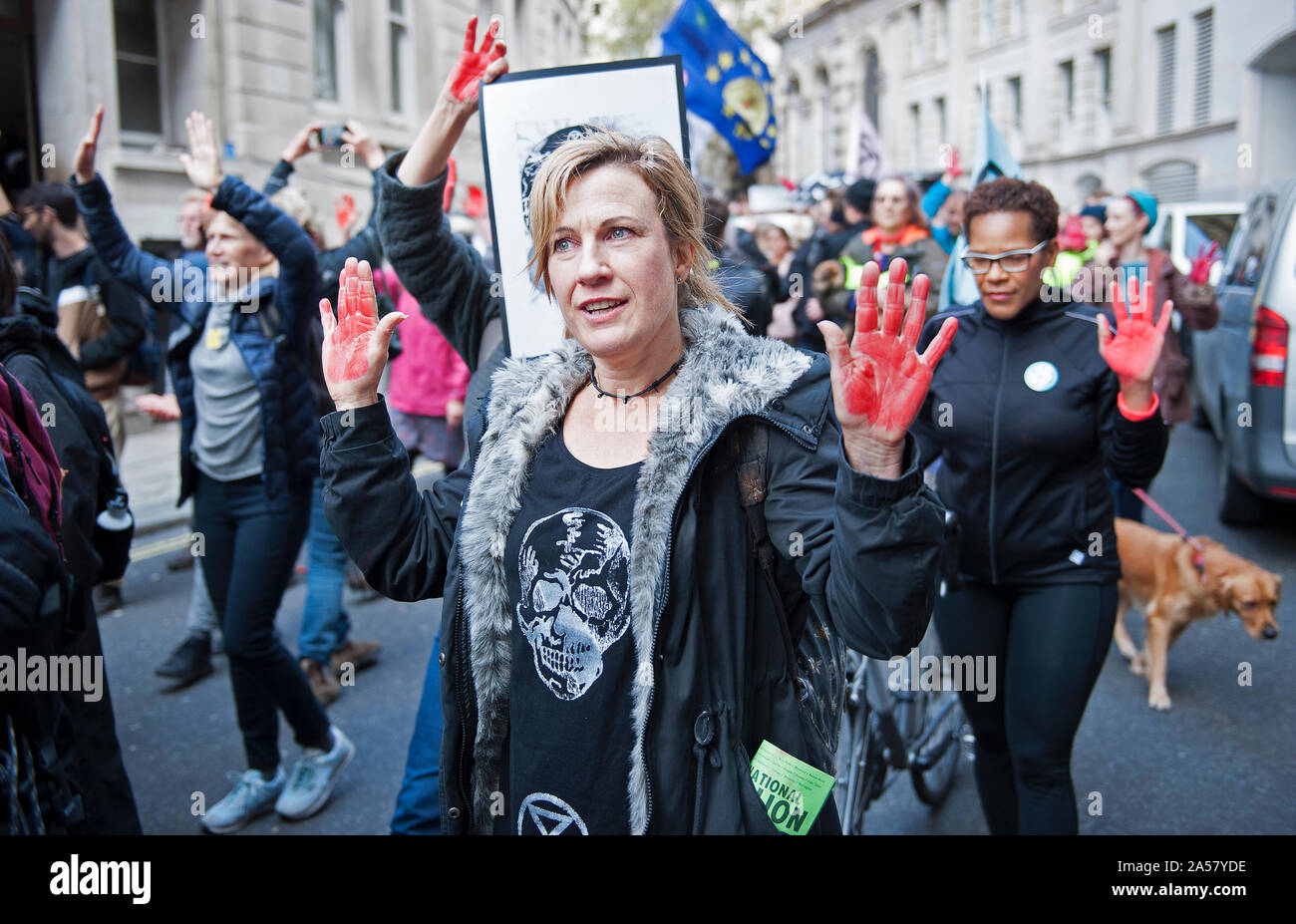Extinction Rebellion - Red Handed Demonstration Stock Photo