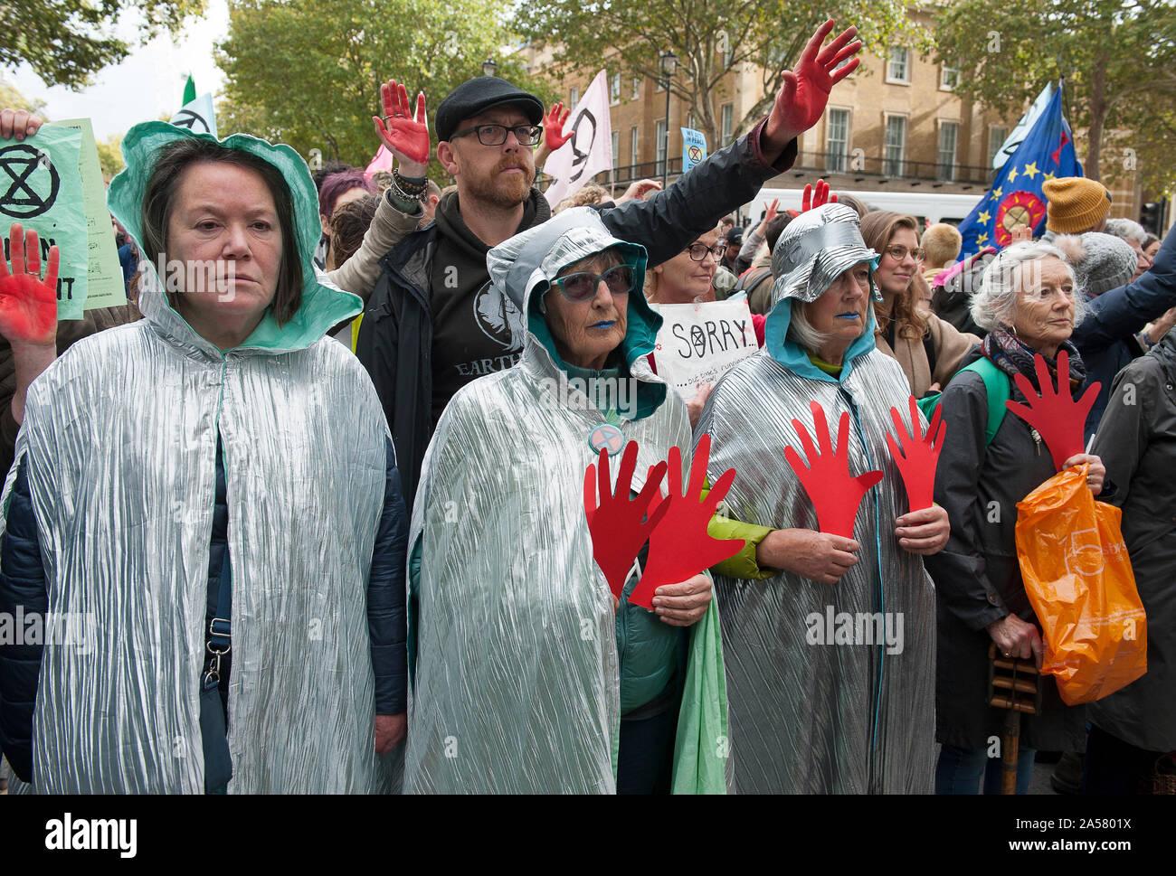Extinction Rebellion - Red Handed Demonstration Stock Photo