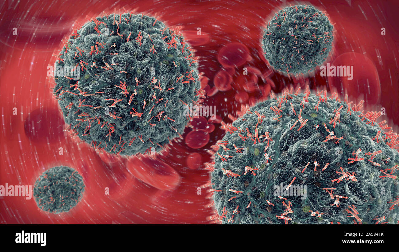 Antibodies attacking virus particles, illustration Stock Photo