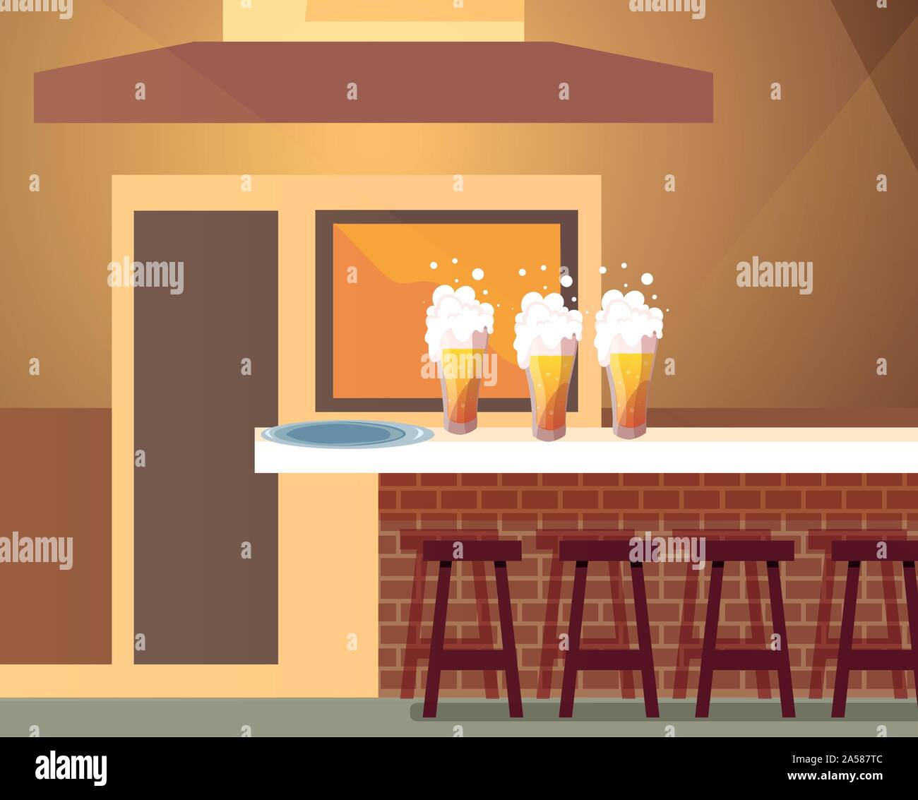 drinking establishment and table with beer bottles vector illustration design Stock Vector