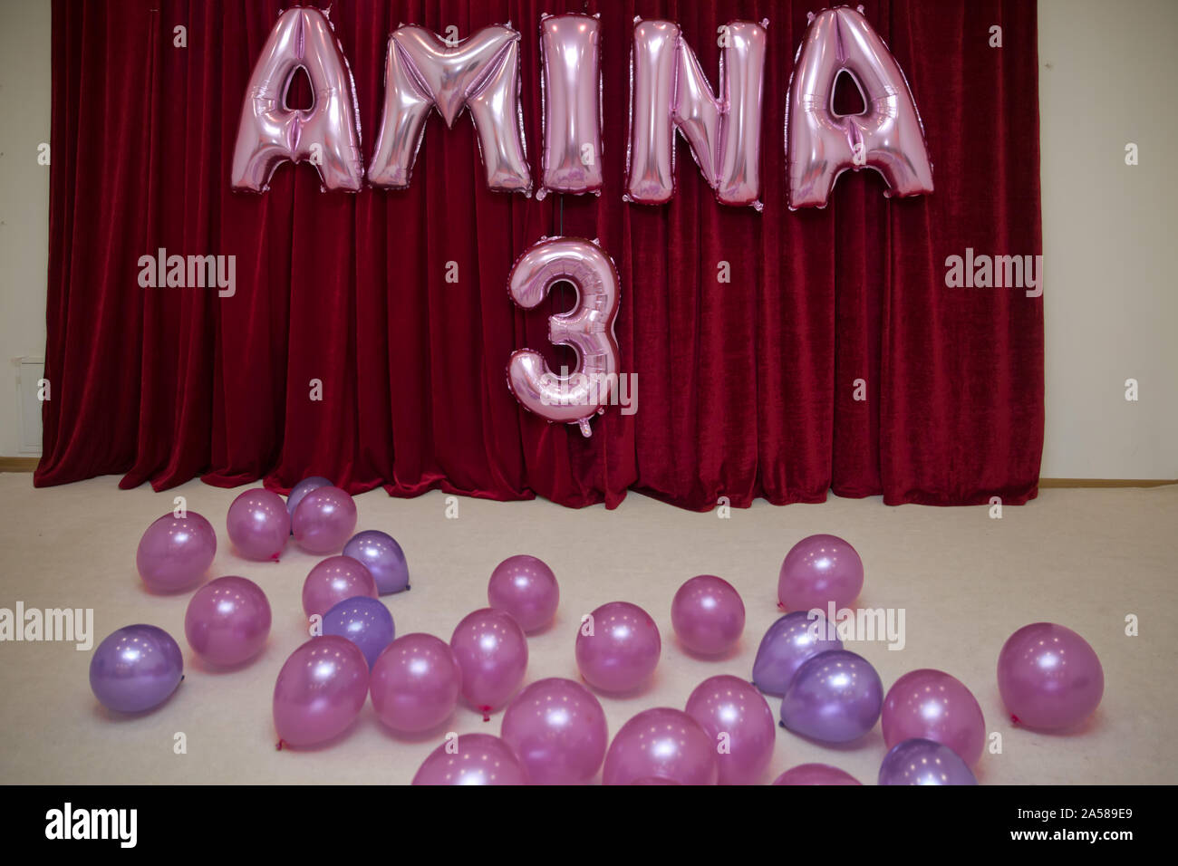 Pink balloon and thirty years old celebration Stock Photo