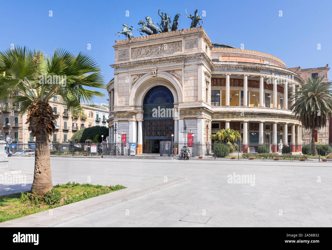 Palermo, Sicily - Marc 23, 2019: Teatro Politeama Palermo, Politeama Theatre front view from the side in daylight. Stock Photo
