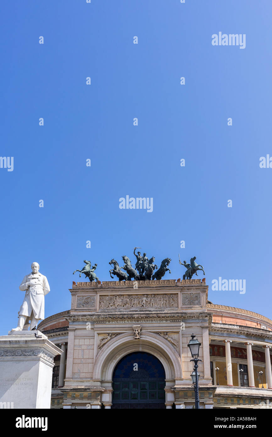 Palermo, Sicily - Marc 23, 2019: Teatro Politeama Palermo, Politeama Theatre front view with broad copy space. Stock Photo