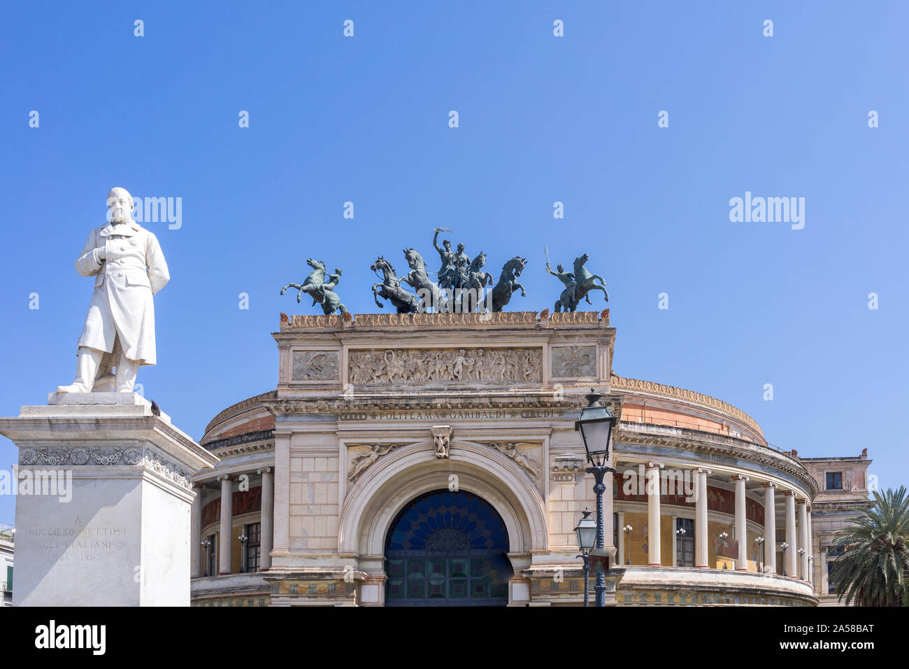 Palermo, Sicily - Marc 23, 2019: Teatro Politeama Palermo, Politeama Theatre front view in daylight with copy space. Stock Photo