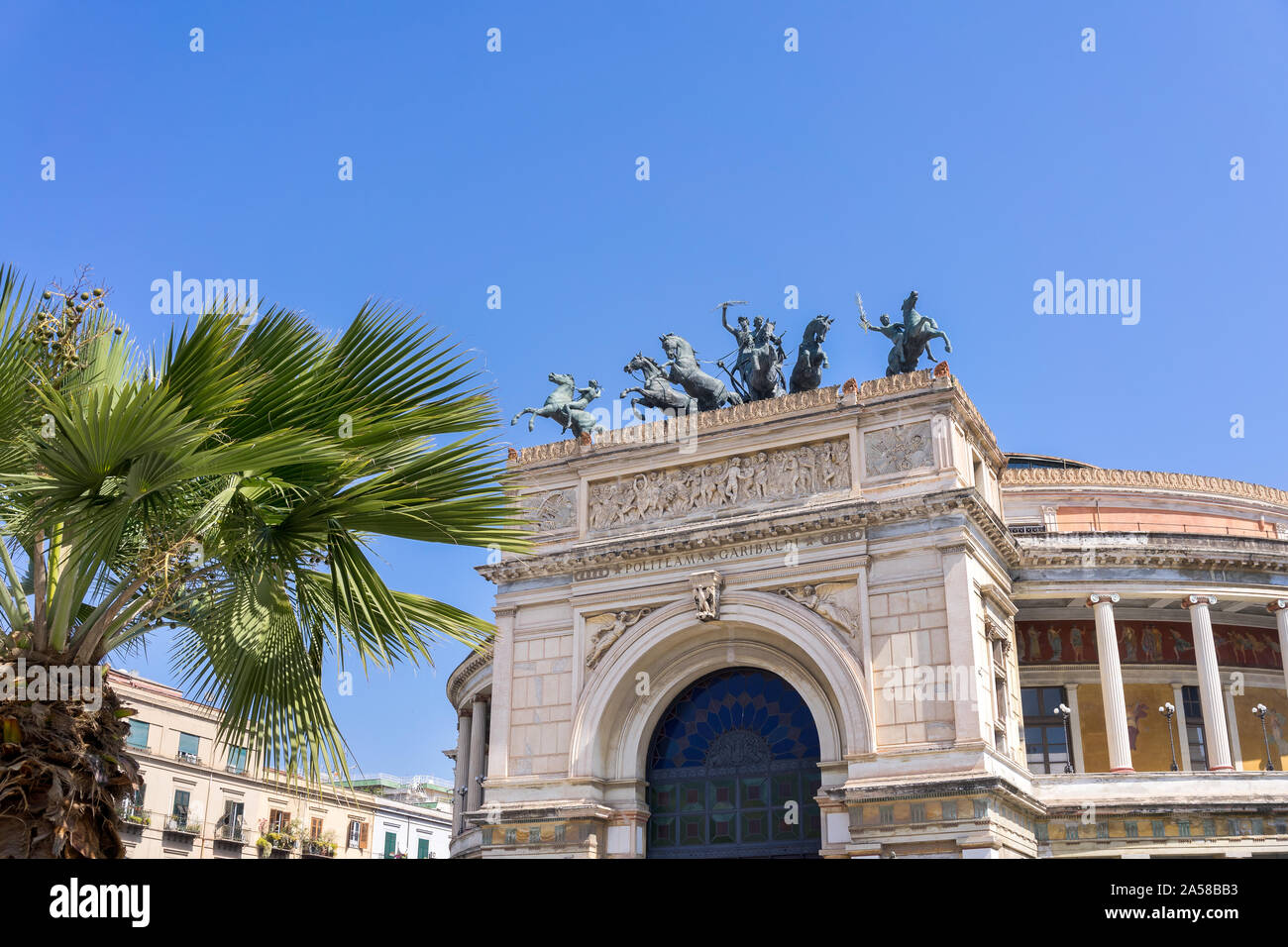 Palermo, Sicily - March 23, 2019: Teatro Politeama Palermo, Politeama Theatre front view in daylight with copy space. Stock Photo