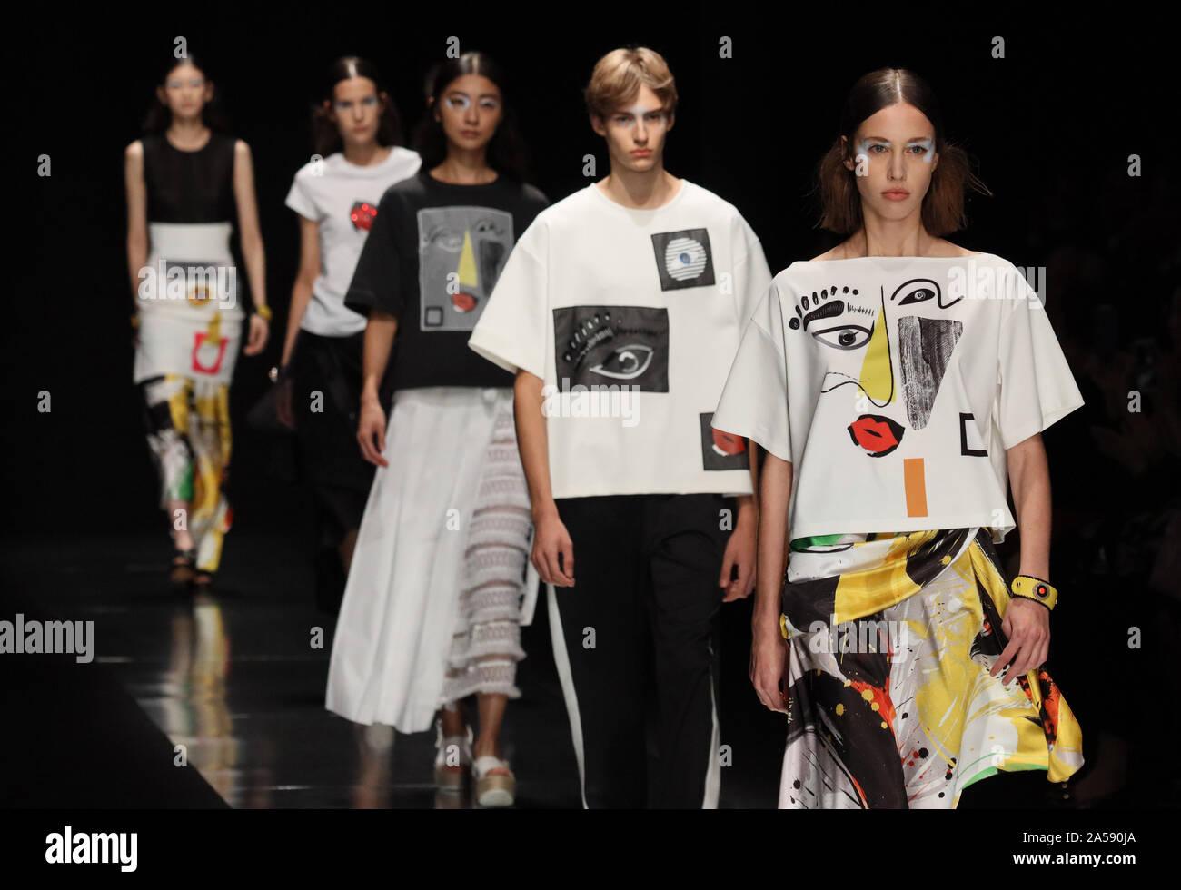 Tokyo Japan 18th Oct 2019 Models Display Creations Of Japanese Designer Tae Ashida For Her 2020