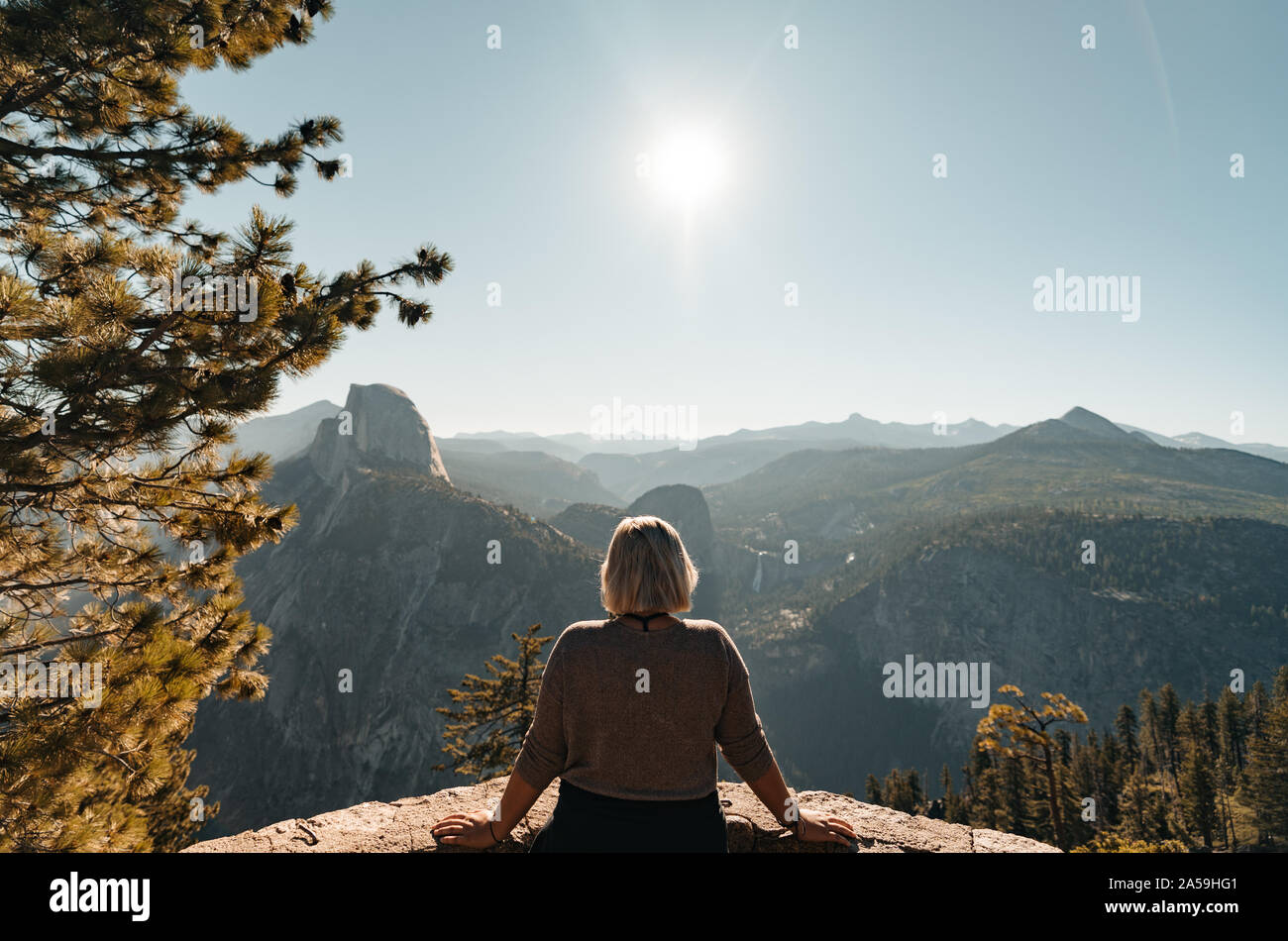 Yosemite Valley View with Half Dome and Waterfalls in the Background Stock Photo
