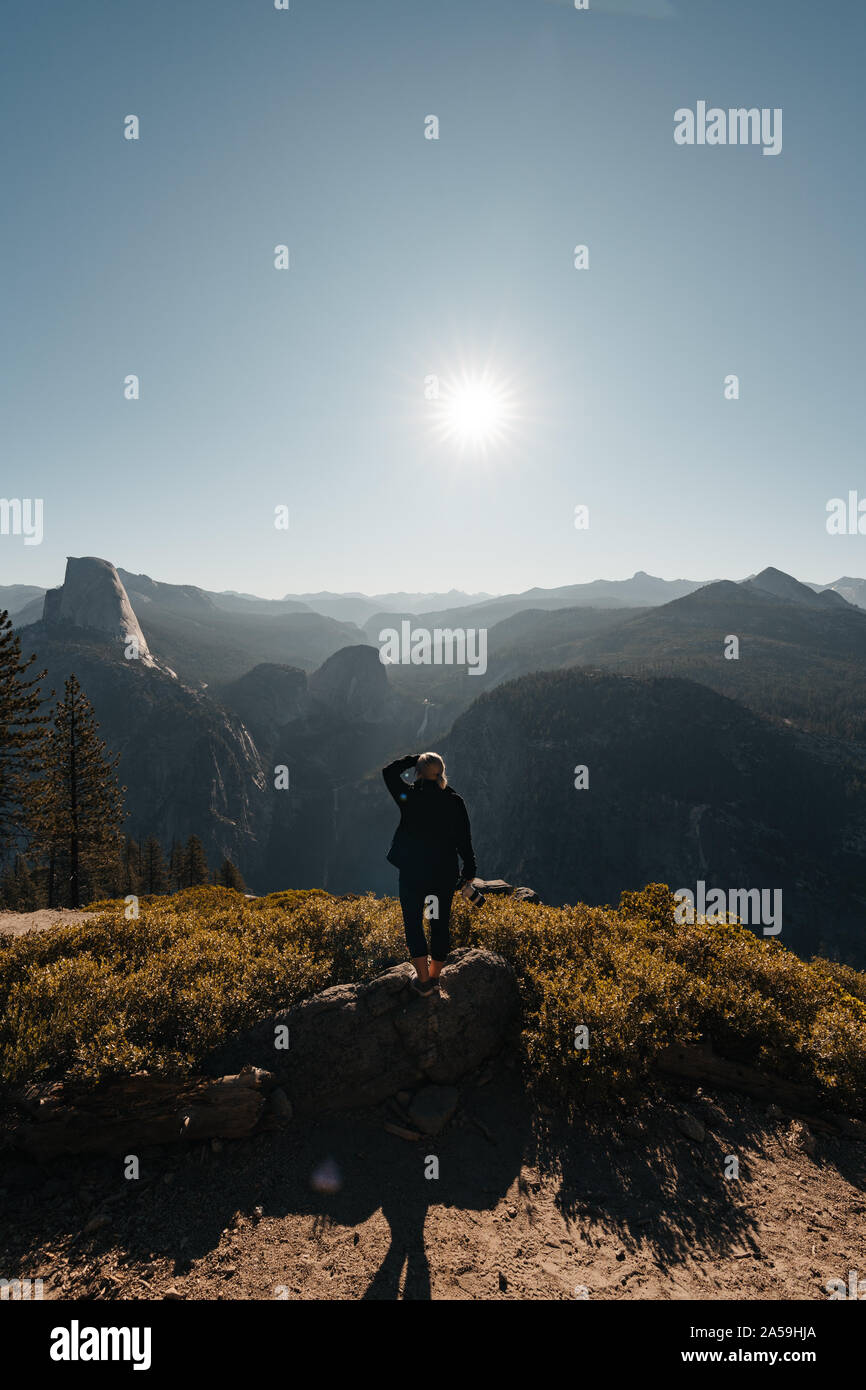 Yosemite Valley View with Halfdome and Waterfalls in the Background Stock Photo