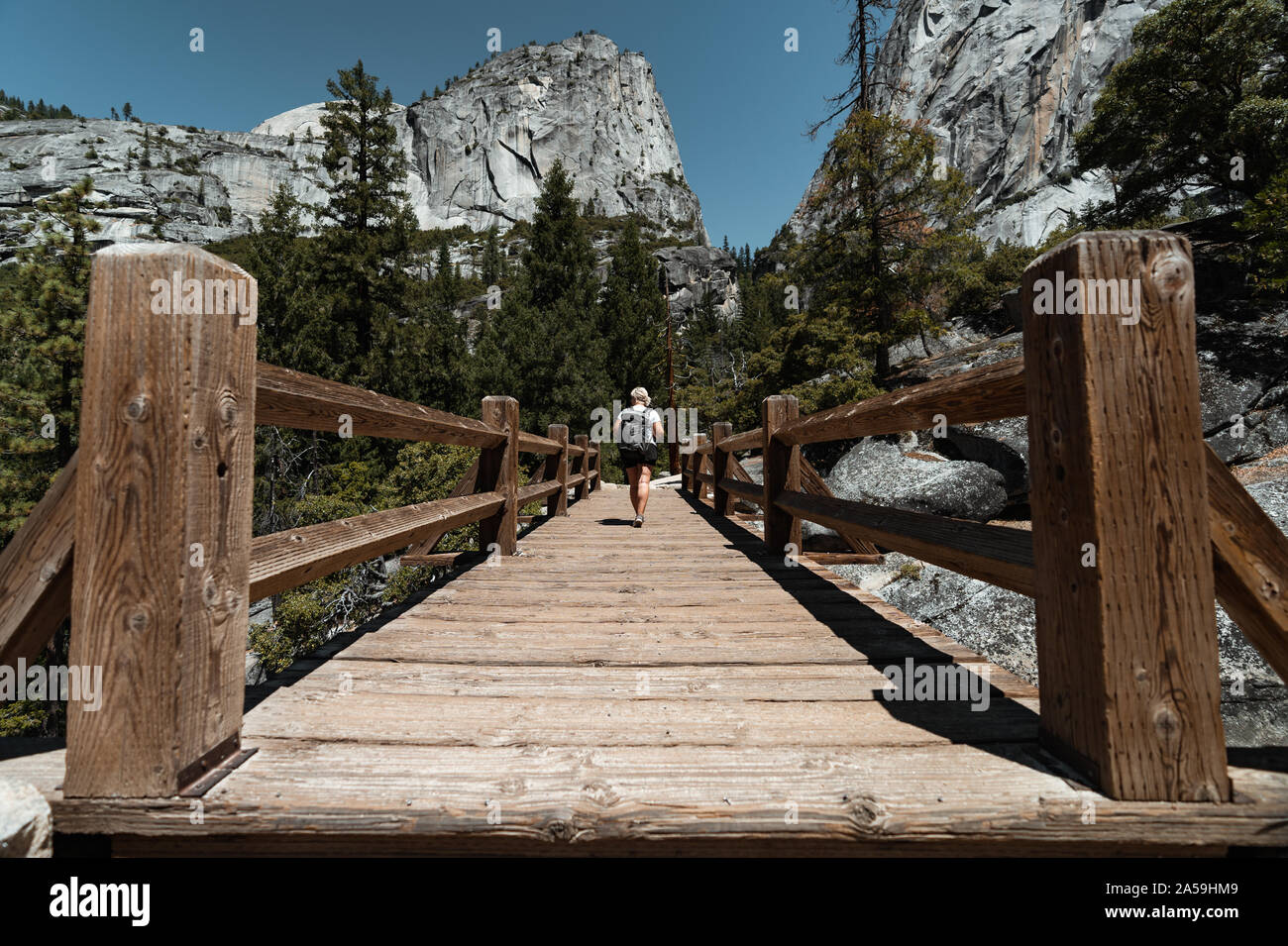 Bridge to Vernal Fall in Yosemite National Park California Stock Photo