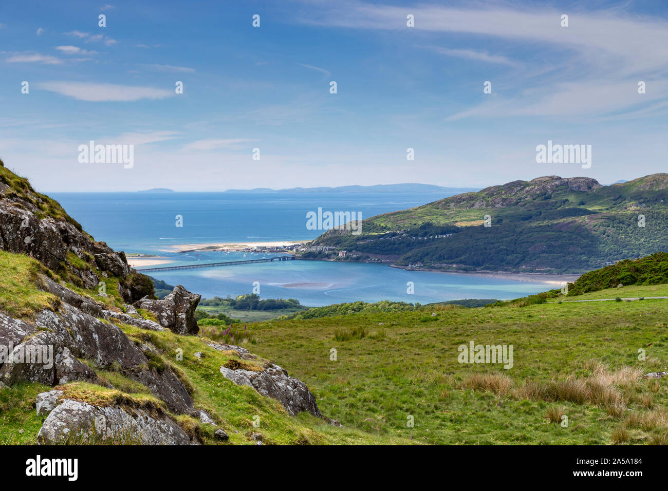 View over Mawddach estuary and Barmouth on the welsh coast Stock Photo