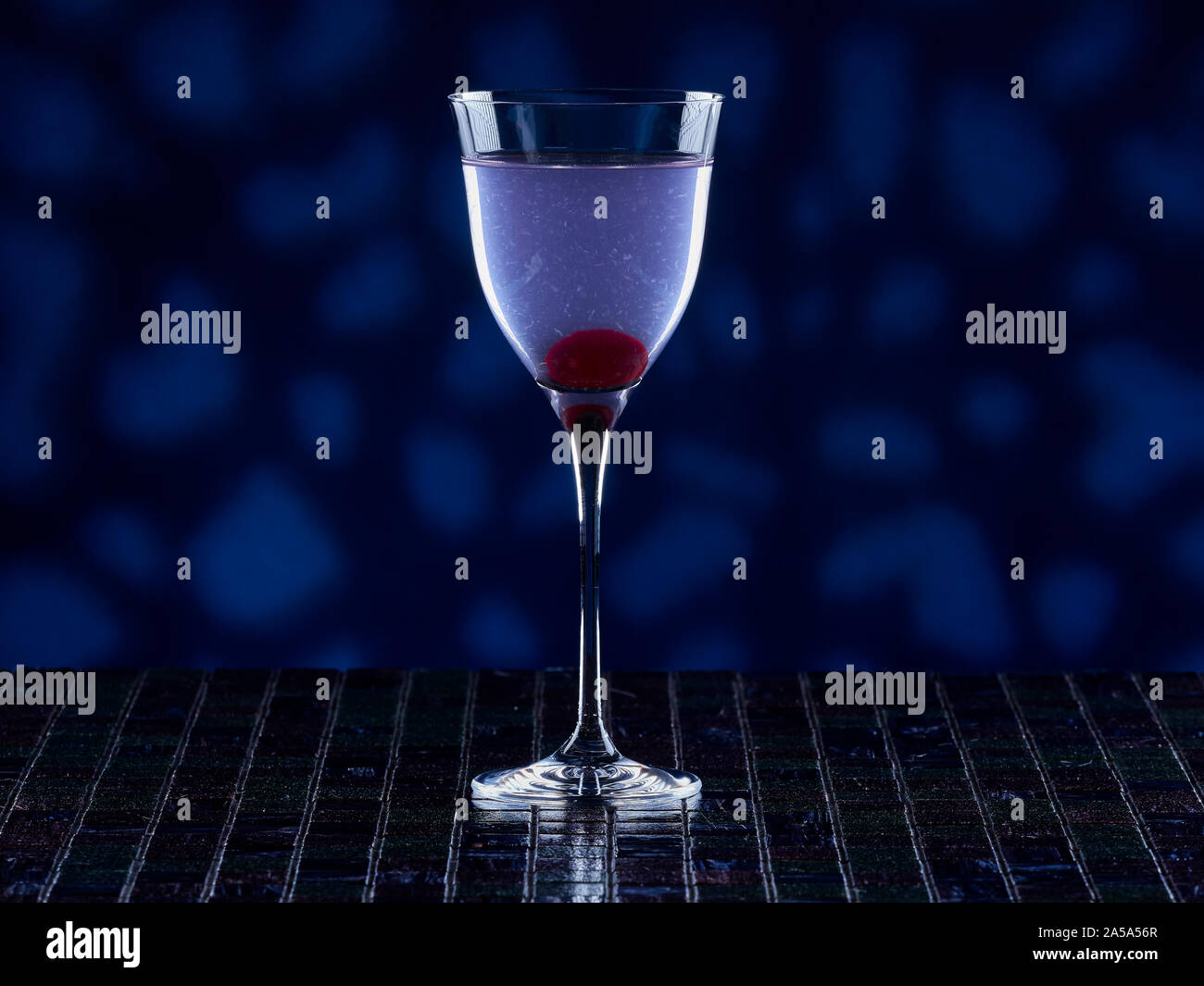 Aviation cocktail on blue background Stock Photo