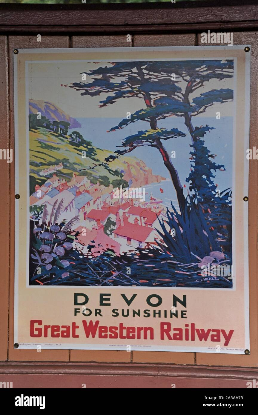 PLYMOUTH DEVON RETRO VINTAGE RAILWAY TRAVEL POSTER  ADVERTISING TRAIN ART