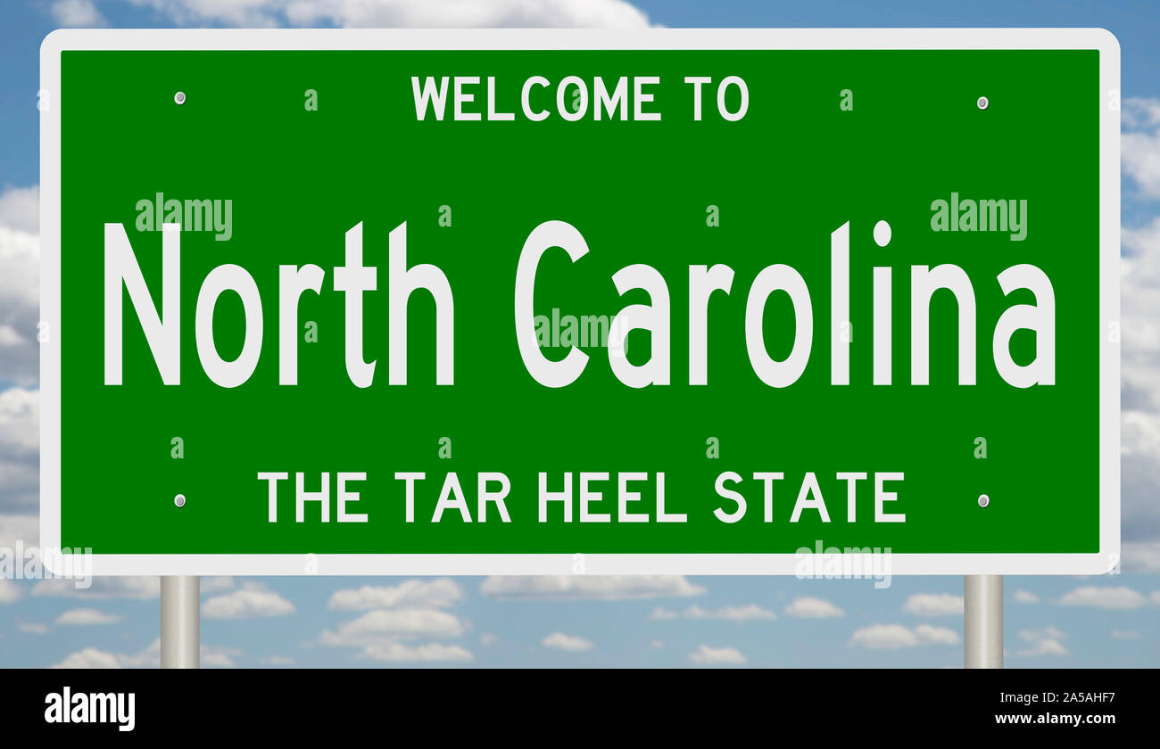 Rendering of a green 3d highway sign for North Carolina Stock Photo