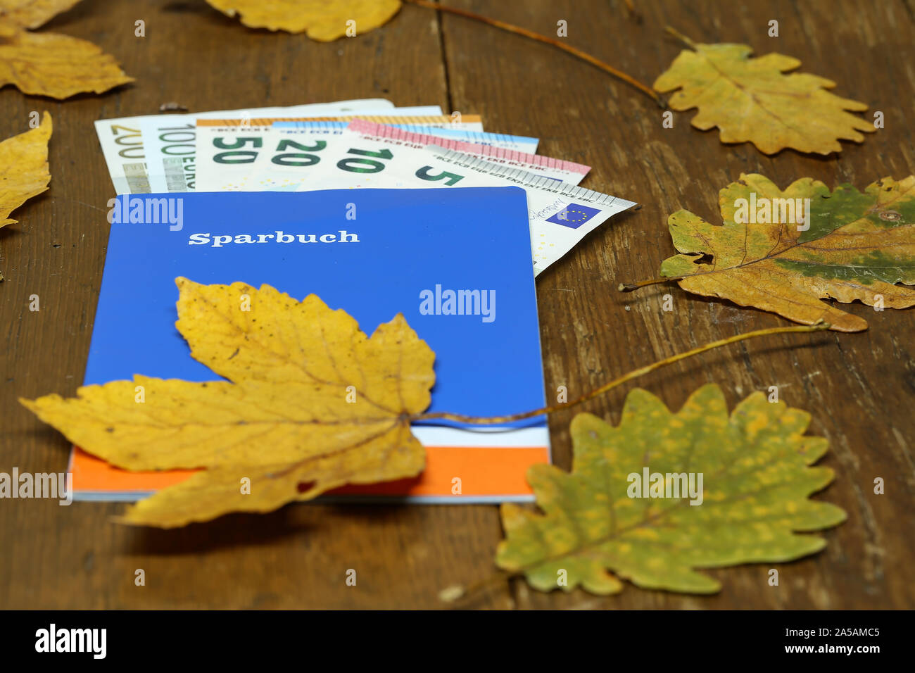 Euro money in a savings book on a table. Text in German - Passbook Stock Photo