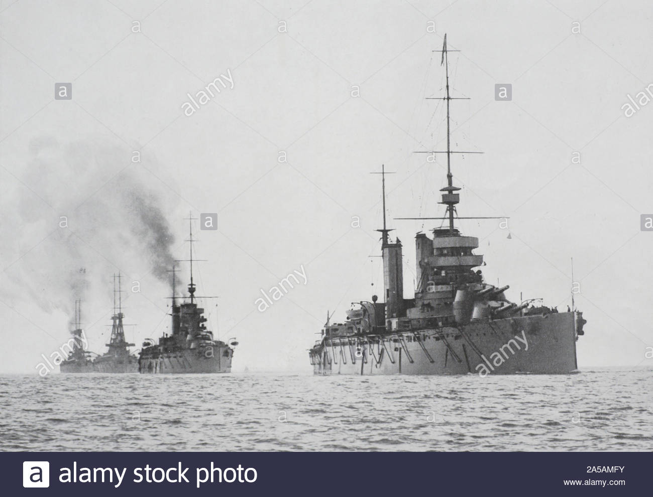 WW1 HMS Lion, HMS Princess Royal, HMS Indomitable and HMS New Zealand, fighting squadron of the Royal Navy, vintage photograph from 1914 Stock Photo
