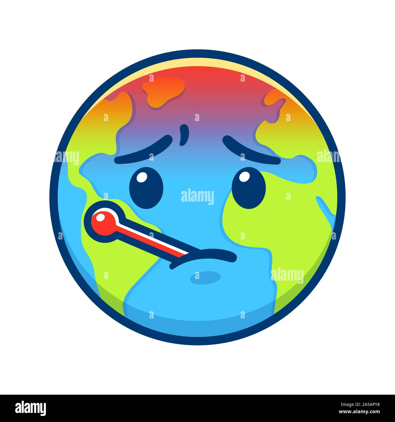 Cartoon Earth with thermometer having fever. Global warming and climate change drawing. Environment and ecology vector clip art illustration. Stock Vector
