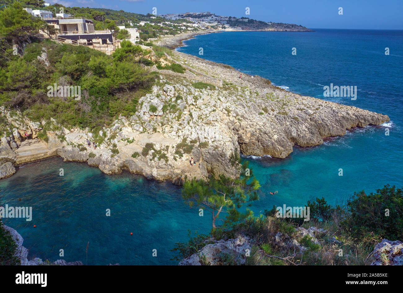 The idyllic beach and bay Cala dell'Acquaviva at Castro, Lecce, Apulia, Italy Stock Photo