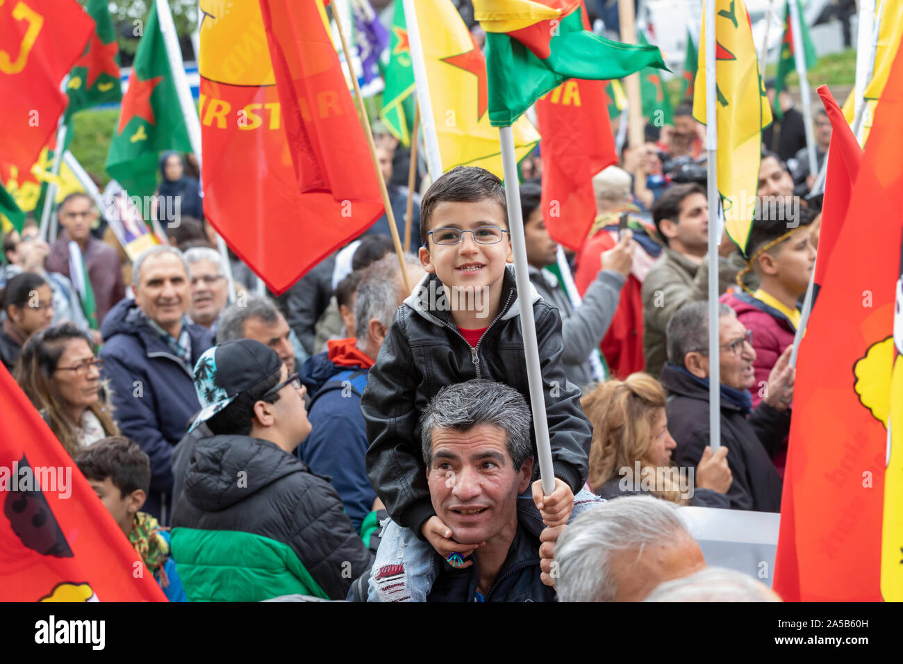 Demonstration on Saturday 2019/10/19 in Cologne against the military offensive of Turkey in Northern Syria with about 10,000 participants. Stock Photo