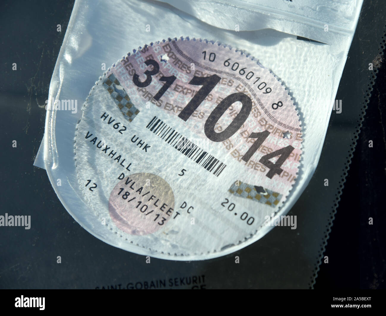 Road Tax disc, old style road tax disc Stock Photo