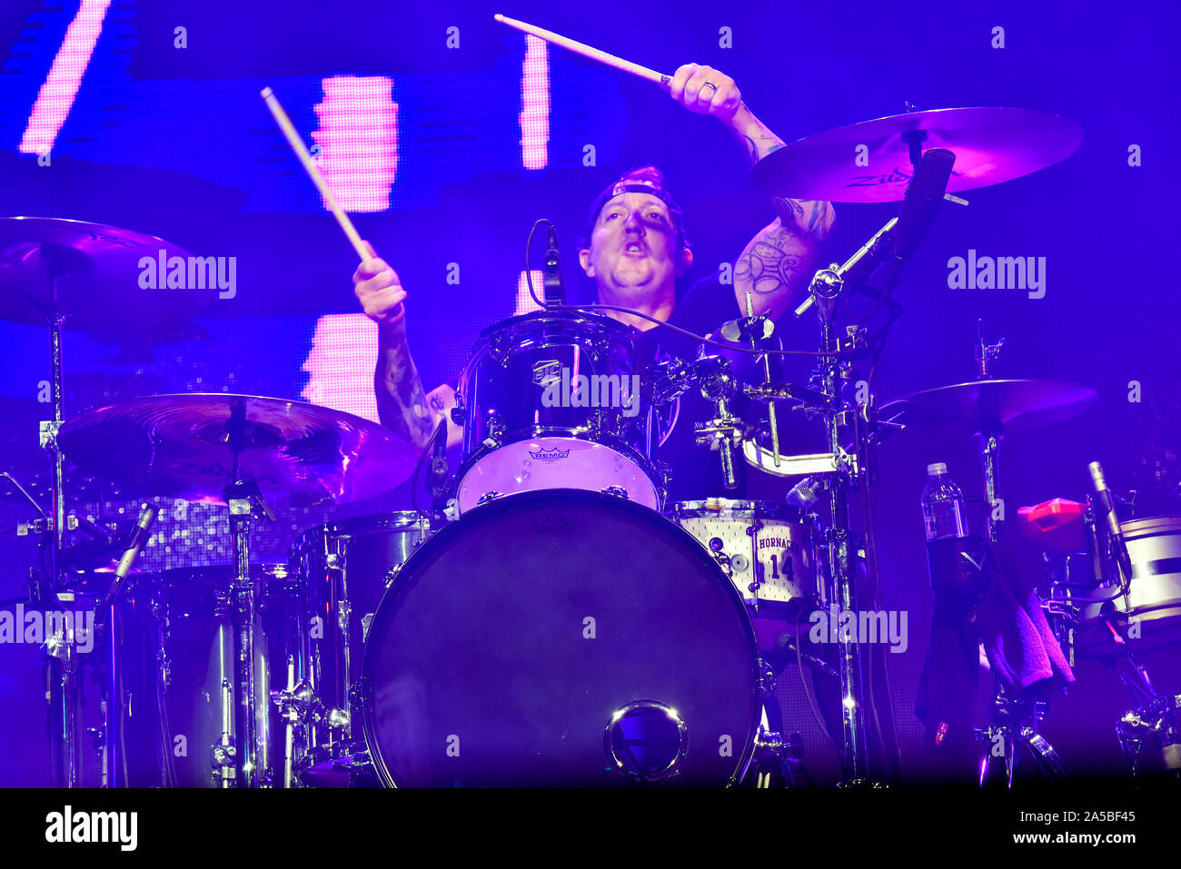 Las Vegas Nevada, October 18, 2019 – Drummer for the Band The Used performing at the third annual Las Rageous heavy metal music festival held at the Downtown Las Vegas Events Center. Photo Credit: Ken Howard Images Stock Photo