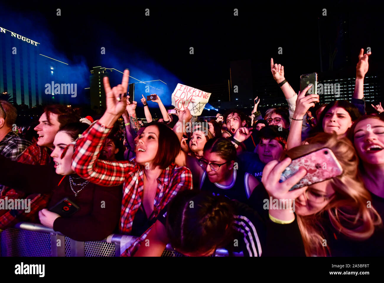 Las Vegas Nevada, October 18, 2019 – The crowd at the third annual Las Rageous heavy metal music festival held at the Downtown Las Vegas Events Center. Photo Credit: Ken Howard Images Stock Photo