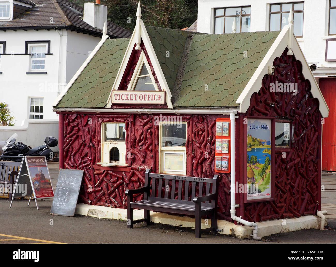 Manx Electric Railway ticket office at Douglas,  Isle of Man, UK Stock Photo