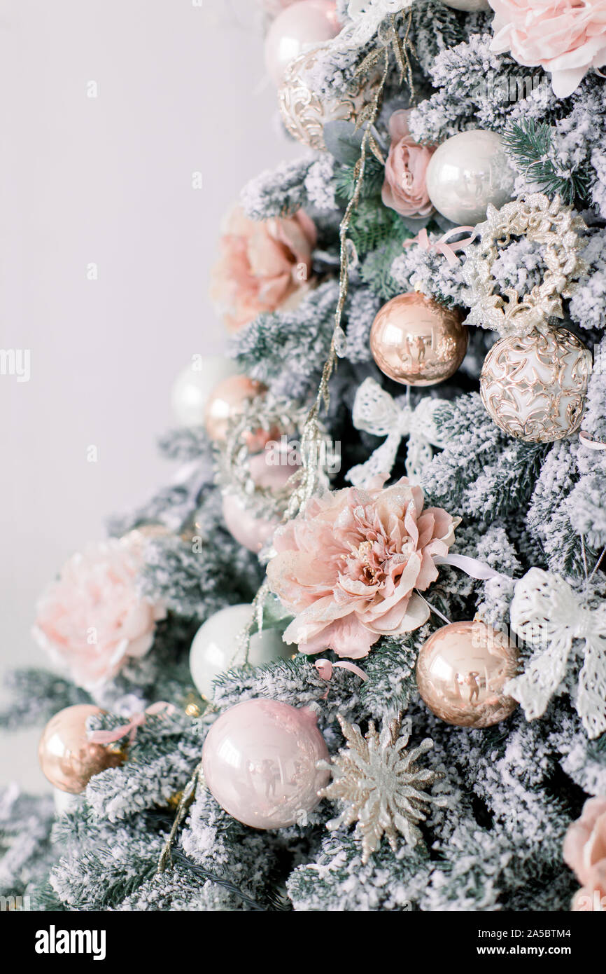 Decorated Christmas Tree In Rustic And Shabby Chic Style New Year Scene Close Up Christmas Tree And Christmas Decorations Pink And Gold Color In Wh Stock Photo Alamy
