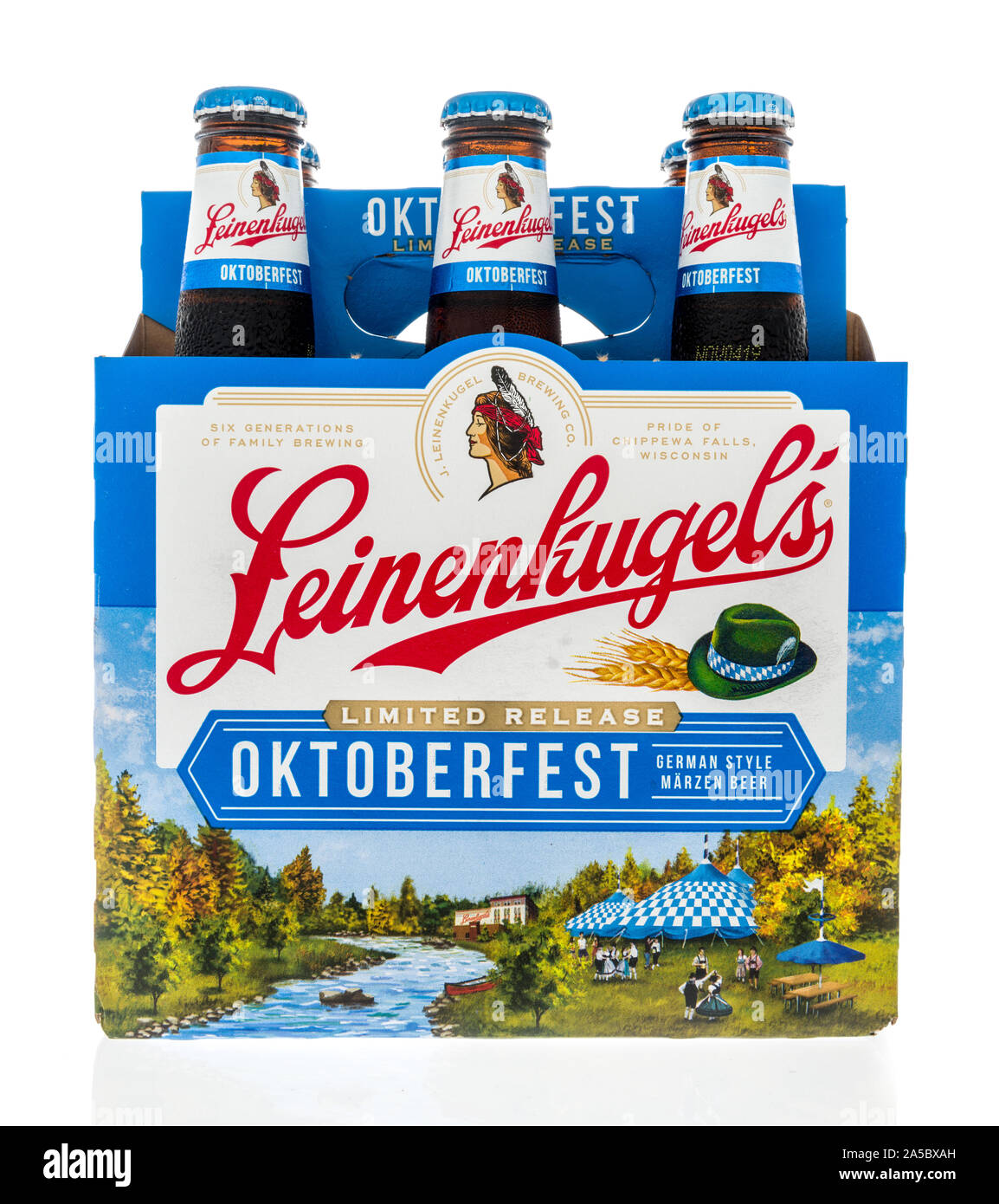 Winneconne, WI - 21 September 2019: A six pack of Leinenkugels Octoberfest beer on an isolated background. Stock Photo