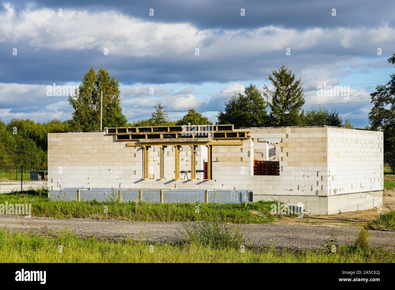 Concrete foundation of a new house, view of construction site in preparation process Stock Photo