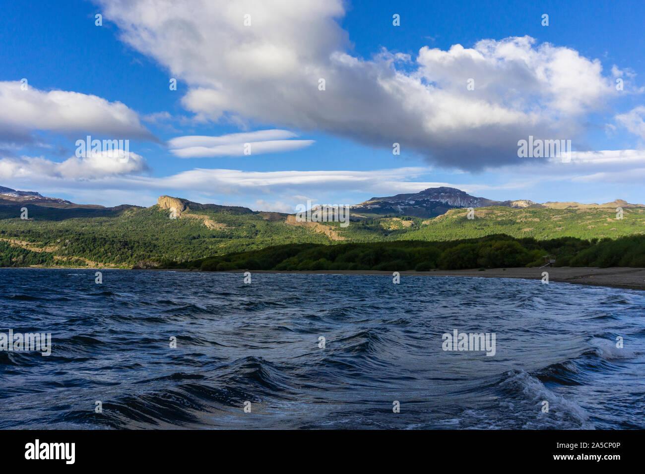 Futalaufquen lake shore on a windy day, Los Alerces National Park, Patagonia, Argentina Stock Photo