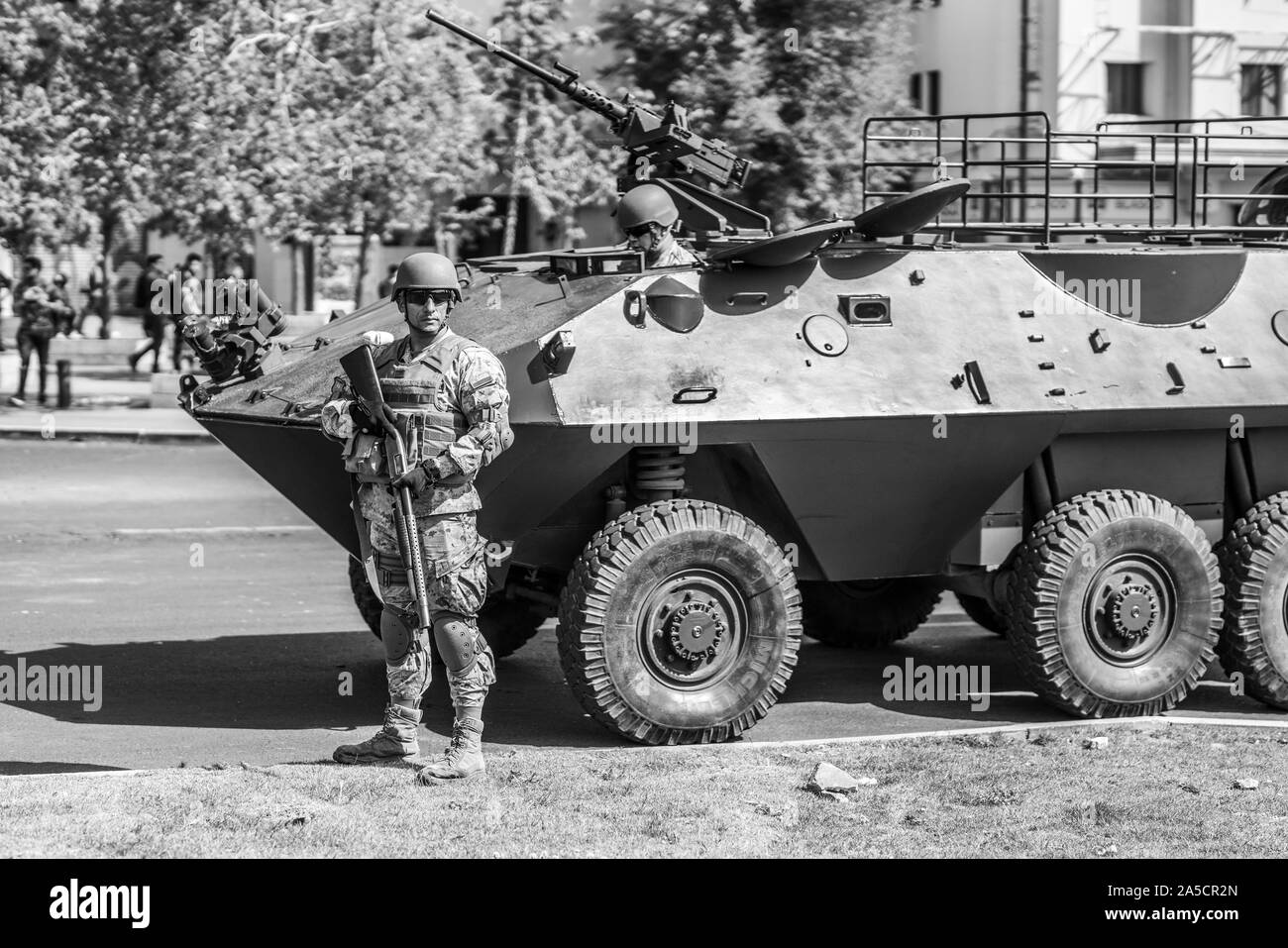 Tanks in Santiago. Riots at Santiago de Chile city centre. The army went out to the streets to dissolve people. Santiago de Chile. 19/10/2019 Stock Photo