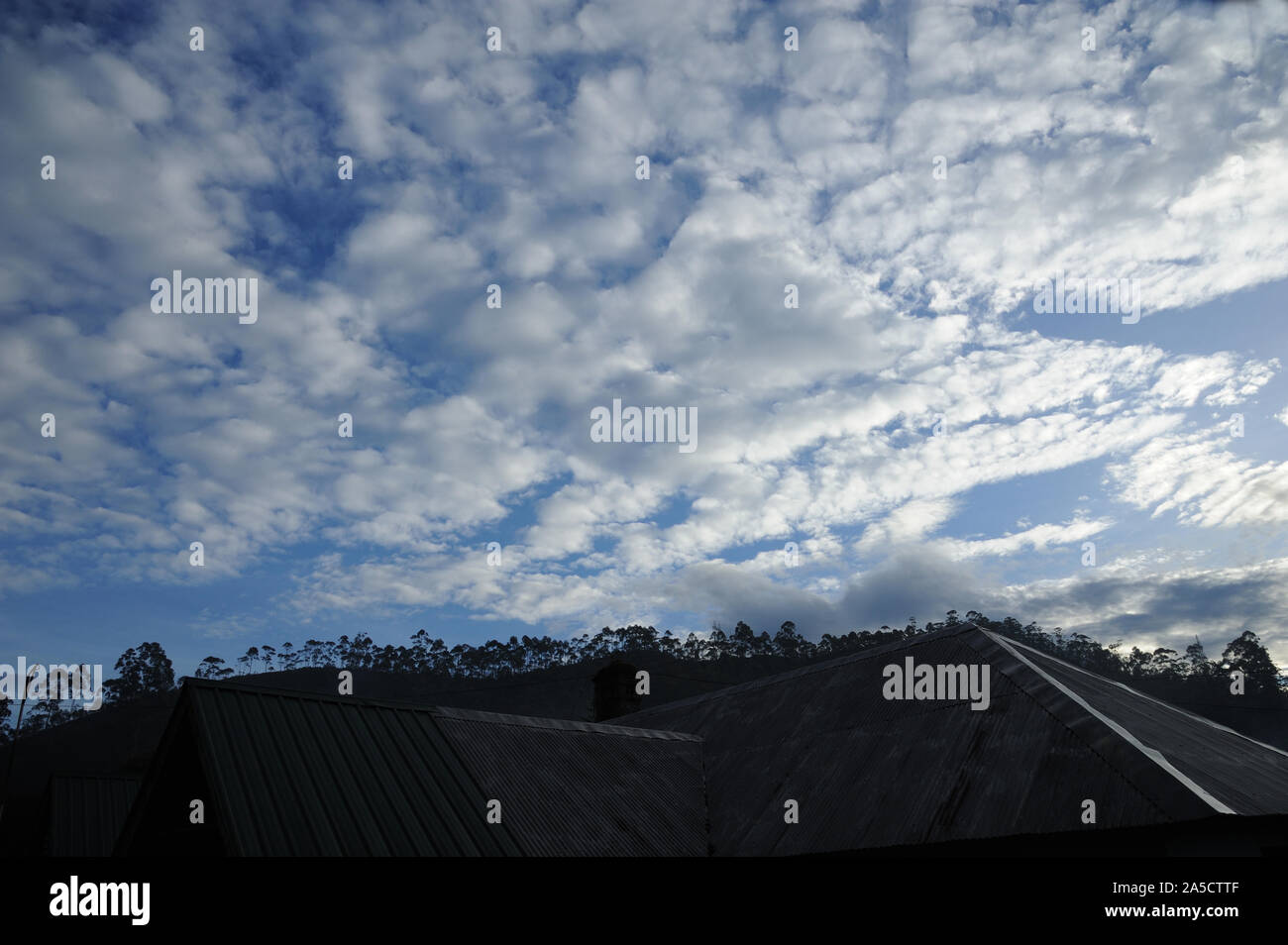 Munnar; Kerala; India; Southeast Asia; Nov. 2017 : Silhouette beautiful Landscape Altocumulus is a middle-altitude Dramati clouds; house in foreground Stock Photo