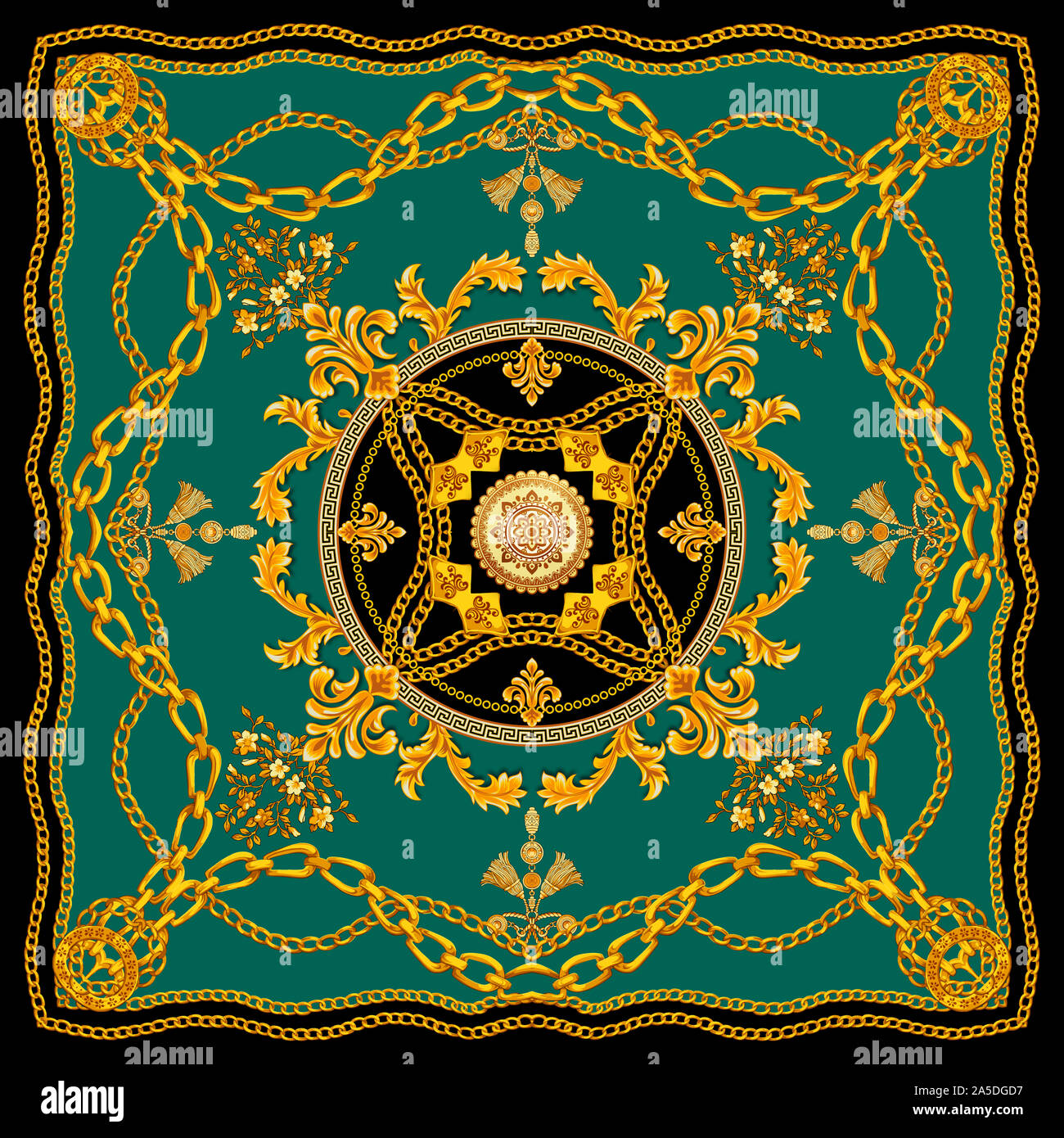 Golden Baroque With Chains On Blue Background Versace Style