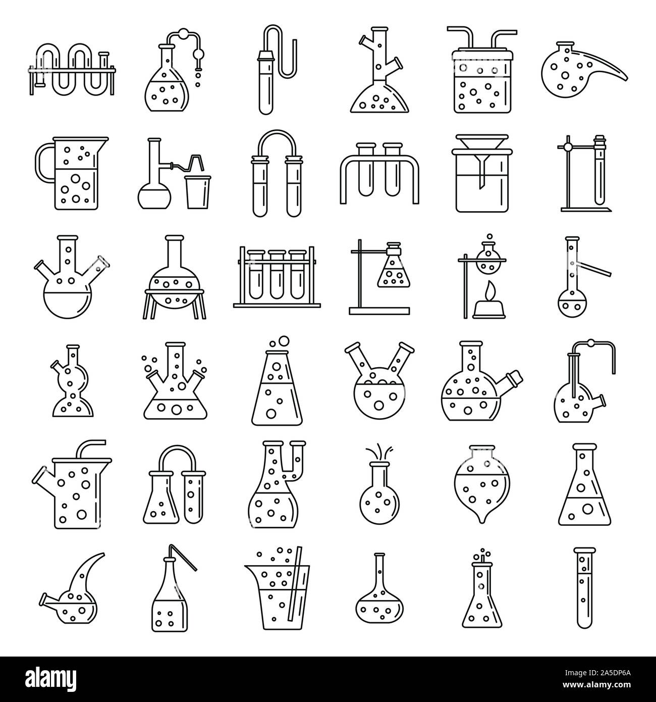 School chemical laboratory experiment icons set. Outline set of school chemical laboratory experiment vector icons for web design isolated on white background Stock Vector