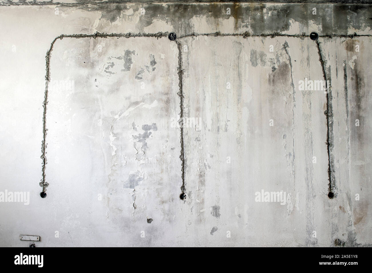 White Concrete Wall Of An Old Building With An Old Wiring Diagram Of Electrical Outlets Background Stock Photo Alamy