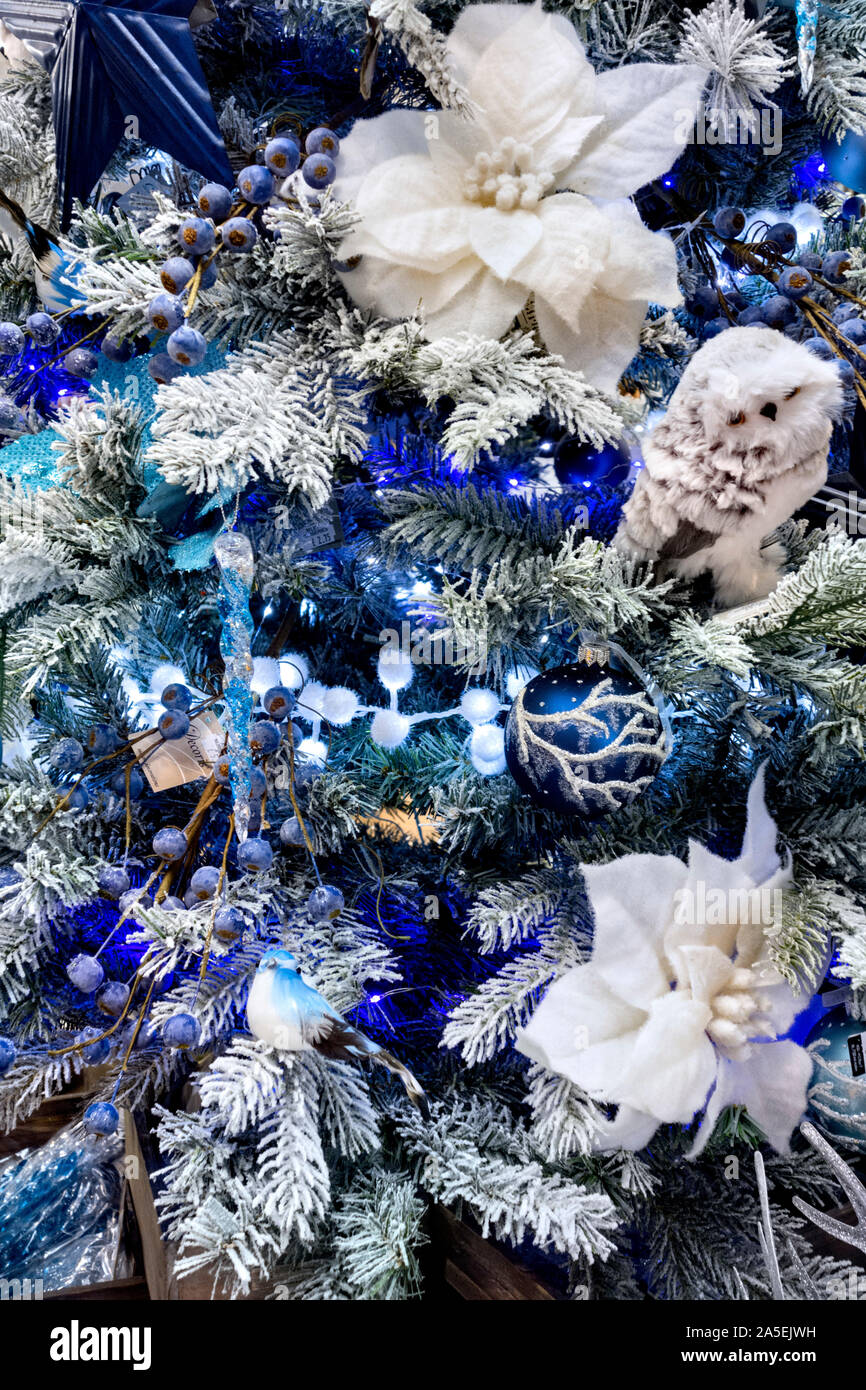 Blue And White Christmas Decorations On Christmas Tree Stock Photo Alamy