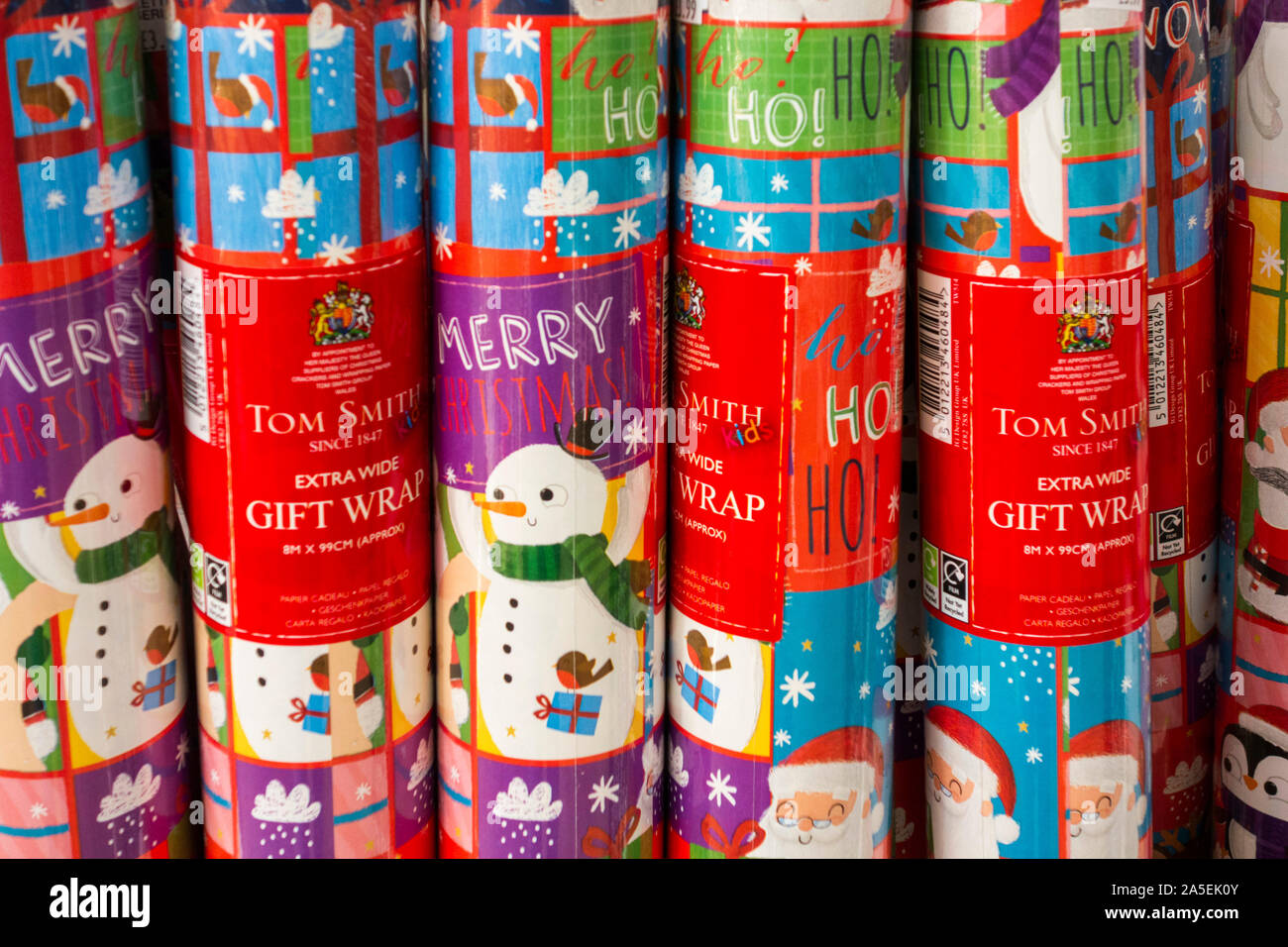 Rolls of Christmas wrapping paper Stock Photo