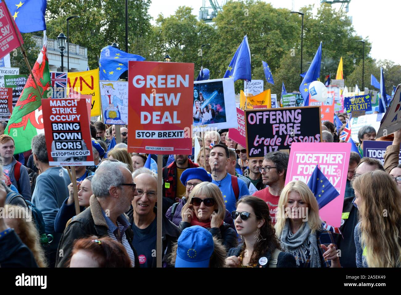 The People's Vote anti-Brexit march in central London on the day Parliament met for their Saturday sitting on 19th October 2019, Stock Photo