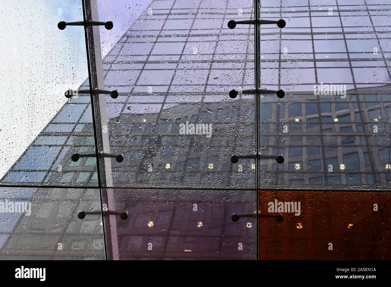 Abstract effect. Wet canopy over walkway. Victoria Street, Victoria, London. UK Stock Photo
