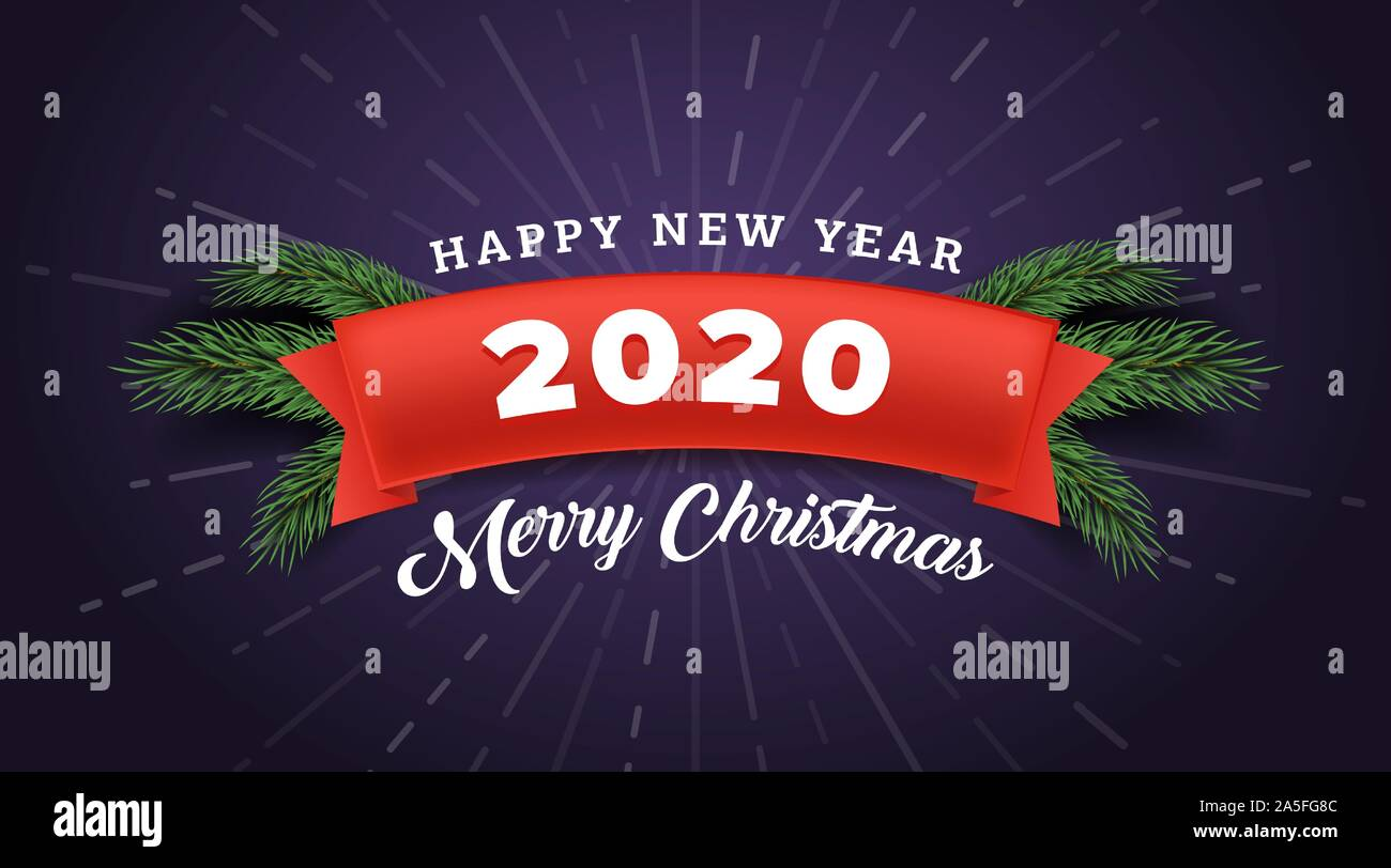 Merry Christmas Banner Vector Template Winter Season Holiday Greeting Card Design With Happy New Year Typography Red Festive Ribbon With 2020 Number And Fir Tree Branches On Purple Background Stock Vector Image