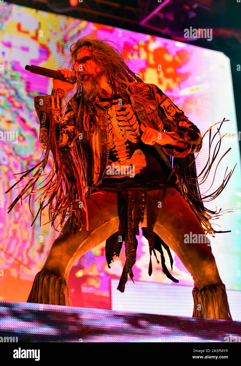 Las Vegas, Nevada, USA. October 19, 2019. Rob Zombie performing in concert at the third annual Las Rageous heavy metal music festival held at the Downtown Las Vegas Events Center. Photo Credit: Ken Howard Images Credit: Ken Howard/Alamy Live News Stock Photo