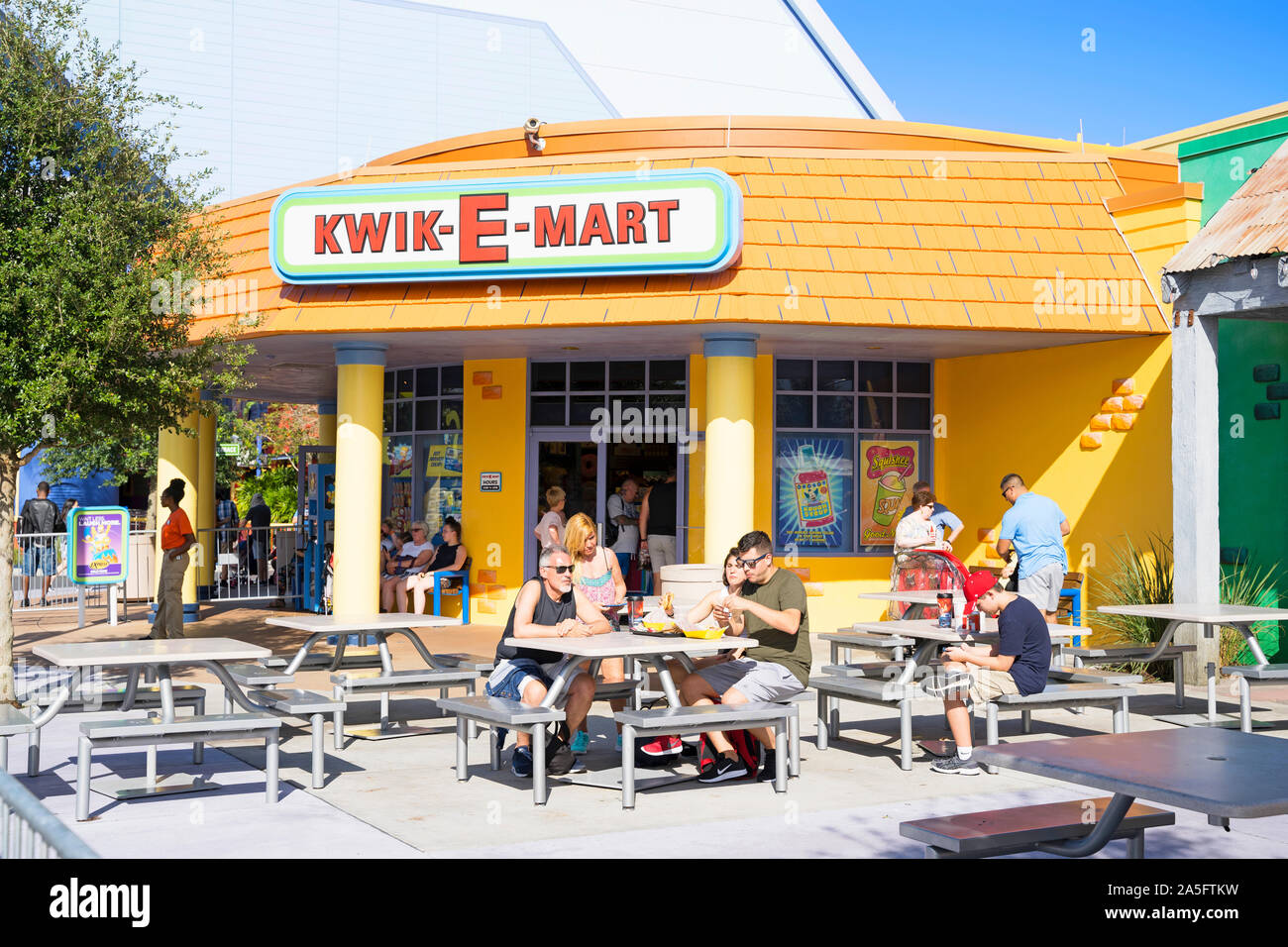 Kwik-E-Mart Entrance, Convenience Shop, Snacks, Food and Drinks and Simpsons Souvenir Store, Universal Studios Resort, Orlando, Florida, USA Stock Photo