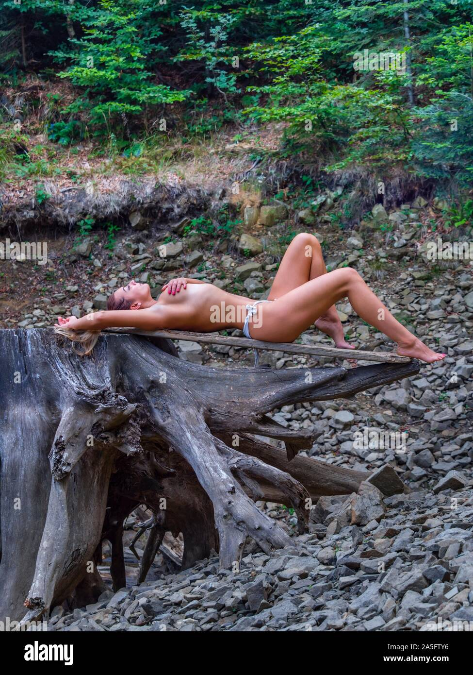 Young almost nude attractive woman in nature lying down on big tree stump root atop near lake coastline Green forest gracious and tasteful Stock Photo
