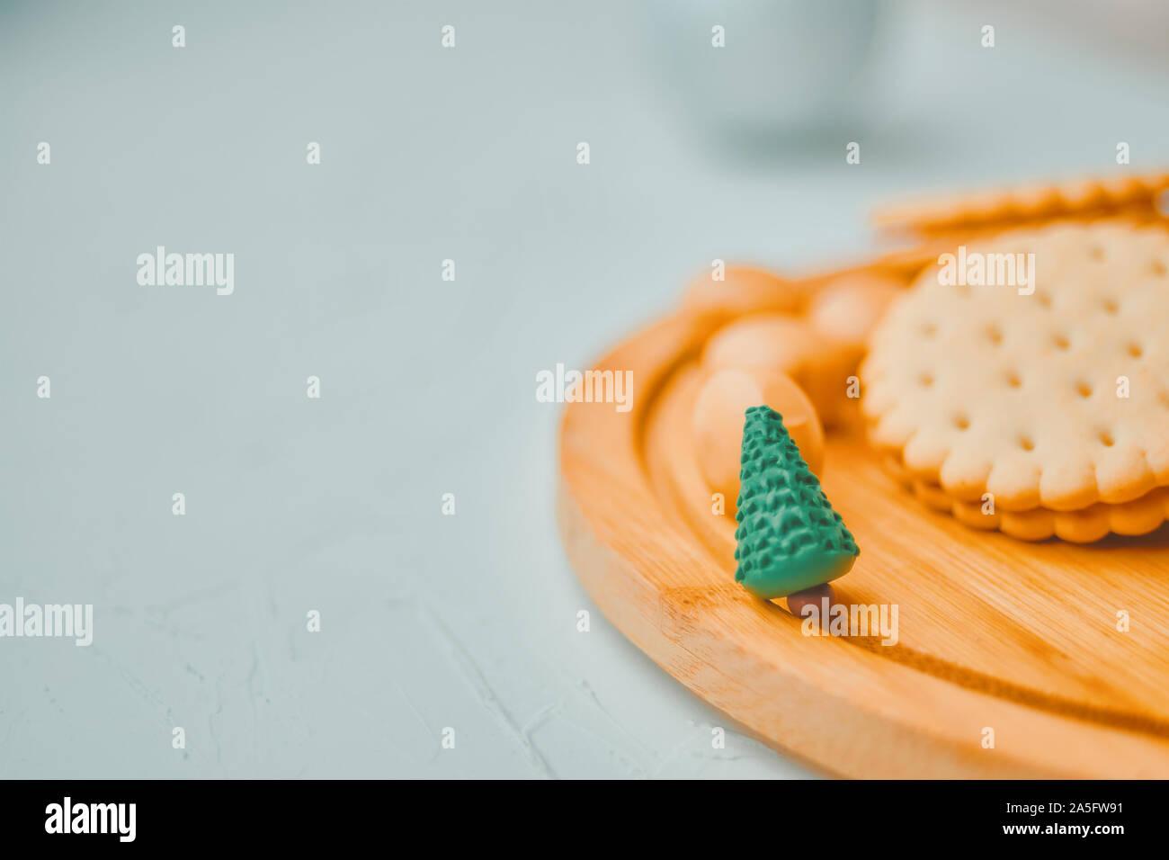 Mini Christmas Tree With Cookies On White Table Stock Photo Alamy