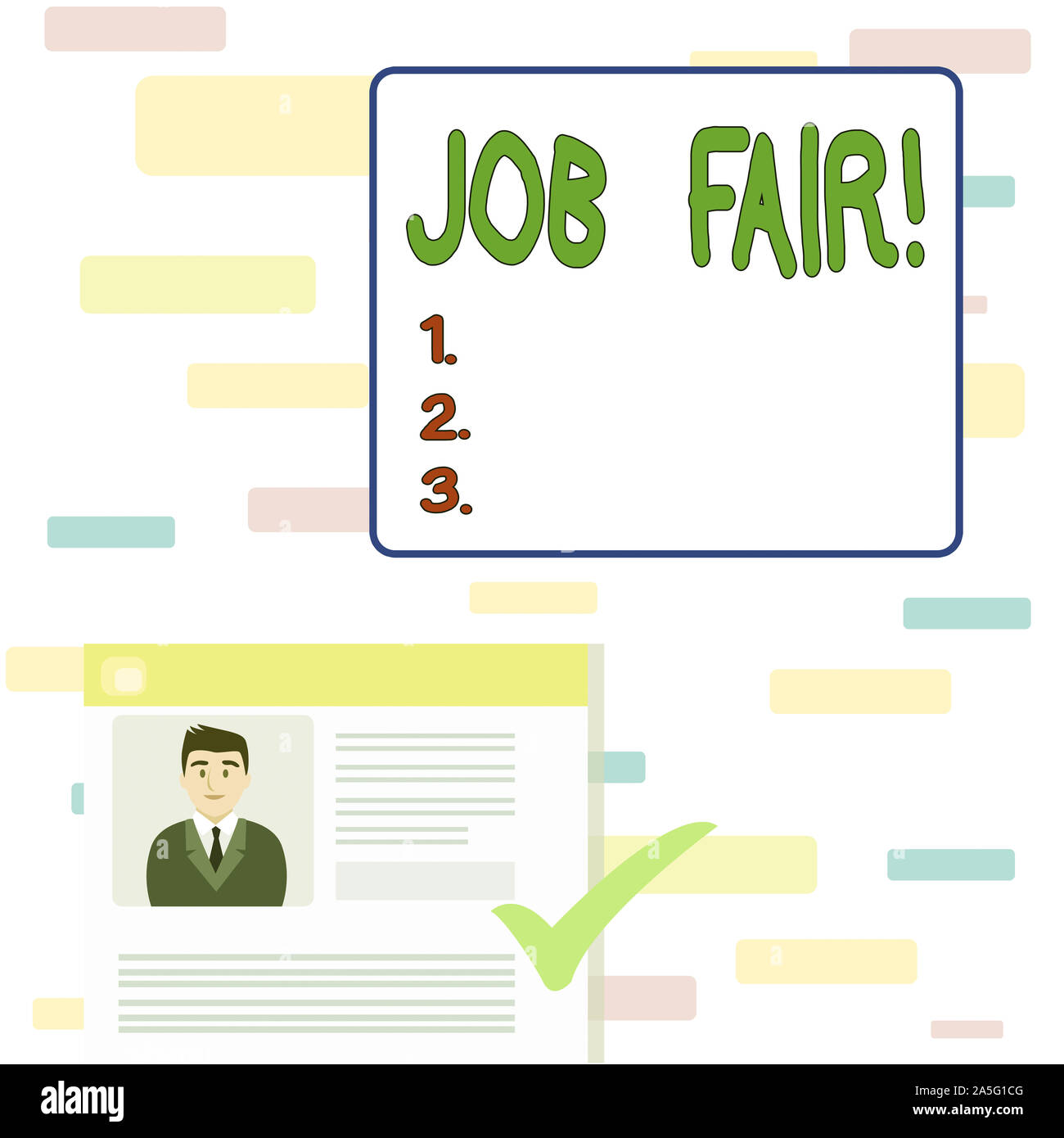 Writing note showing Job Fair. Business concept for event in which employers recruiters give information to employees Curriculum Vitae Resume of Candi Stock Photo